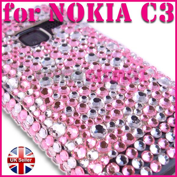 BLING DIAMOND CRYSTAL DIAMANTE CASE COVER FOR NOKIA C3