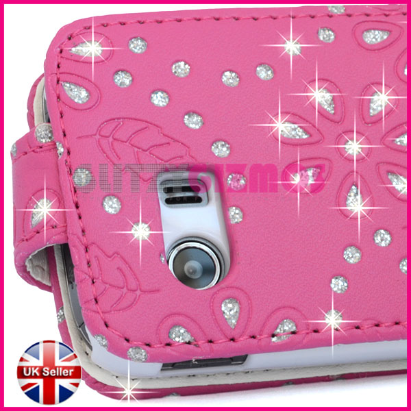 Details about pink leather flip case cover pouch for samsung galaxy y