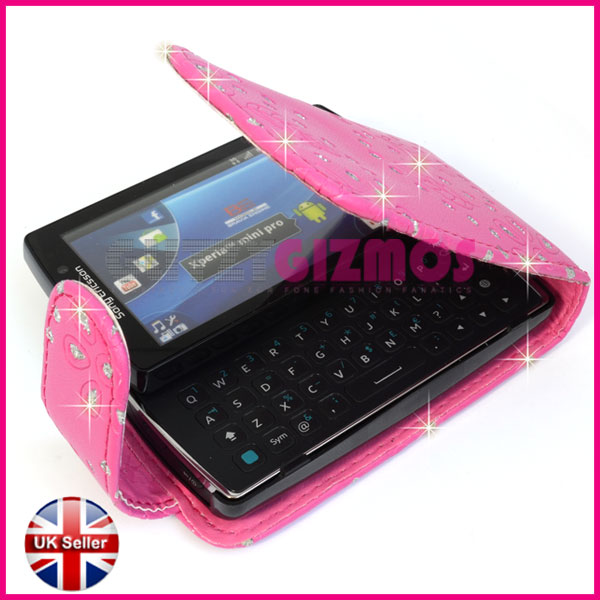 Pink Leather Flip Pouch Cover Case for Sony Ericsson Xperia Mini Pro SK17i